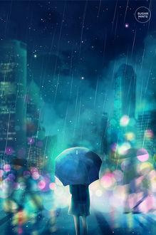 Фото Девушка с зонтом на улице вечернего города, by sugarmints