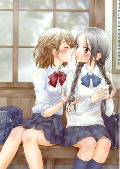 Фото Две школьницы собираются поцеловаться, сидя на скамейке, by Milk Morinaga