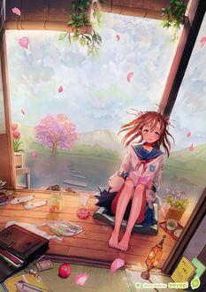 Фото Школьница в матроске сидит с книжкой на веранде босая среди разбросанных вещей и еды на фоне пейзажа с цветущей сакурой, озером и горами, by Neyagi