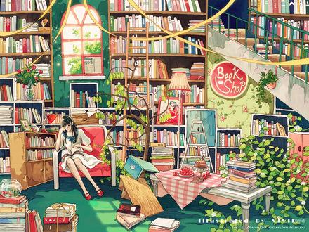 Фото Школьница в матроске сидит с книжкой в кресле в книжном магазине среди художественного беспорядка и комнатных растений, by Vivid