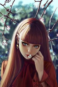 Фото Девушка с весенним цветком во рту, by YellowLemonCat