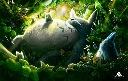 Фото Totoro / Тоторо и Chibi Totoro / Маленький Тоторо из аниме Мой сосед Тоторо / My Neighbor Totoro, by ArtAG95