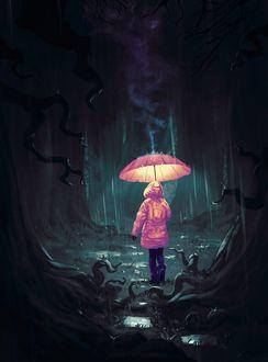 Фото Девочка в розовом плаще с розовым зонтом в темном лесу, by AnatoFinnstark