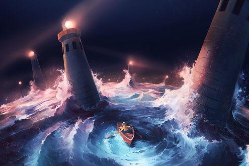 Фото Мальчик в лодке на волнах с маяками, by AquaSixio