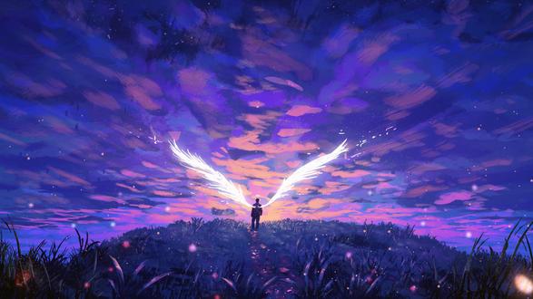 Фото Ангел стоит в траве на фоне закатного облачного неба, by AnatoFinnstark