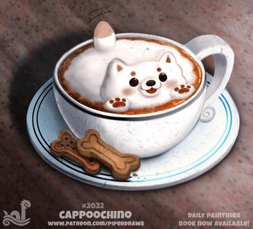 Фото Чашка капучино с пенкой-щенком и печеньки в виде косточки, by Cryptid-Creations