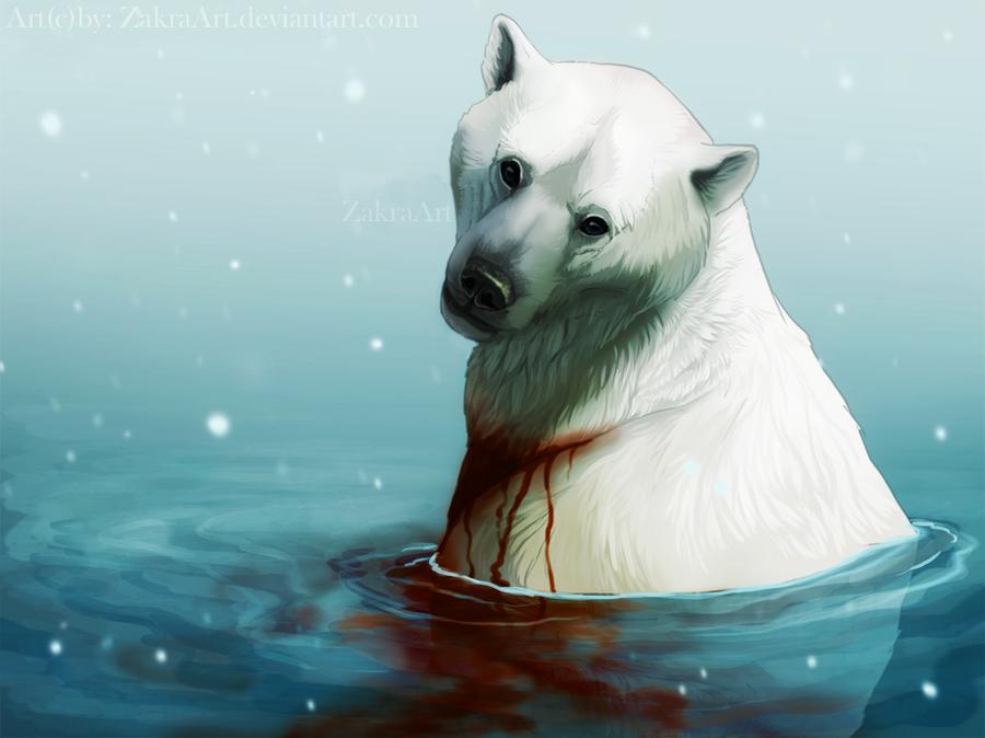 Фото Окровавленный белый полярный медведь в воде под снегопадом, by ZakraArt