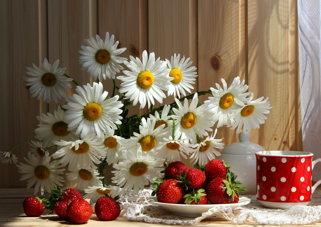 Пушистый букет ромашек, на блюдце лежат ягоды клубники, рядом сахарница и красная кружка в белый горошек