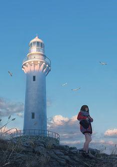 Фото Девушка с рюкзаком стоит на фоне маяка и парящих вокруг него чаек, art by Tamaki