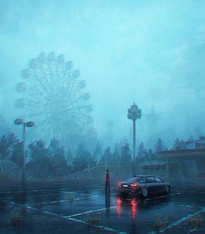 Фото Парень, стоя у машины, всматривается в окутанное туманом колесо обозрения, art by Tamaki