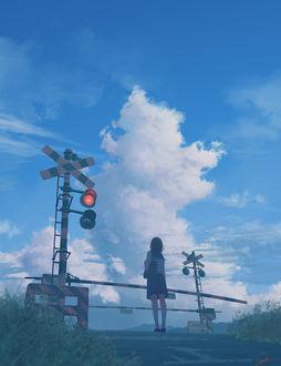 Фото Девушка с вещами стоит у закрытого железнодорожного переезда, art by Tamaki