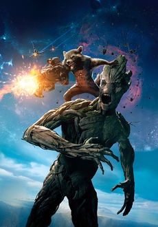 Фото Rocket Raccoon / Реактивный Енот строчит из пулемета, сидя на Groote / Груте из мультсериала Guardians of the Galaxy / Стражи Галактики