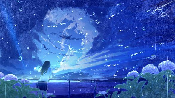 Фото Школьница смотрит на просвет в небе, стоя под дождем, by Sketcher