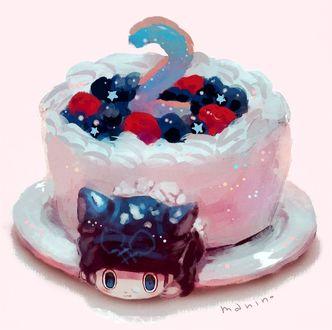 Фото Ребенок с кошачьими ушками и хвостом внутри ягодного тортика, by manino