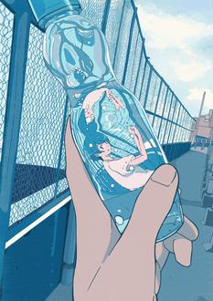 Фото Бутылка, внутри которой девушка, в руке