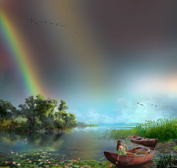 Фото Девушка в лодке на озере, на фоне неба с радугой. Фотограф Igor Zenin