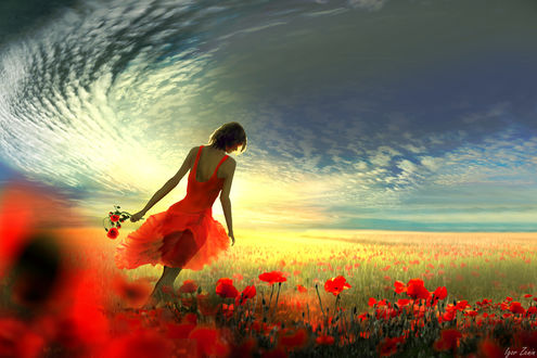 Фото Девушка в красном платье на маковом поле под облачным небом. Фотограф Igor Zenin