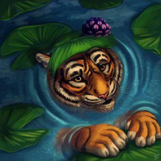 Фото Тигр в воде, by MidnightHuntingWolf