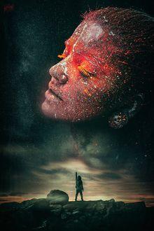 Фото Парень протянул руку к небу, на котором изображена девушка, by Peter Brownz Braunschmid