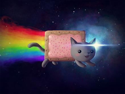 Фото Nyan Cat / Нянкот- визуально-музыкальный мем Ютуба, на фоне космоса, by BenHickling