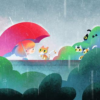 Фото Девочка с котенком под красным зонтом, by minayuyu