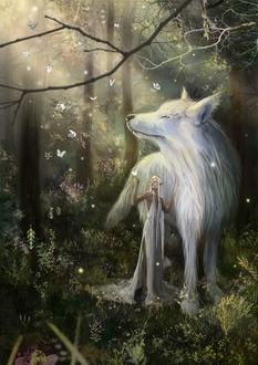 Фото Девушка - эльфийка стоит рядом с огромным волком, by Eldrith