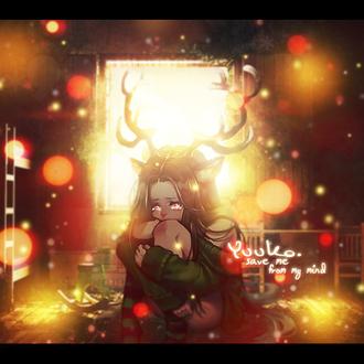 Фото Плачущая девушка с оленьими рожками и ушками сидит в комнате, by YuukoGFX