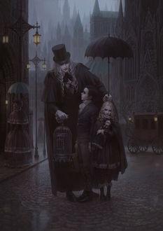 Фото Семья вампиров на улице города, арт по игре Bloodborne / Порождение крови