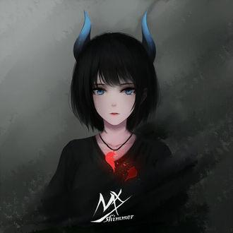 Фото Плачущая девушка-демон, на шее которой кулон с разбитым сердцем, by shimmer