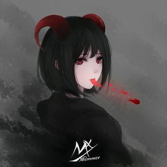 Фото Девушка-демон держит во рту кусочек разбитого сердца, by shimmer