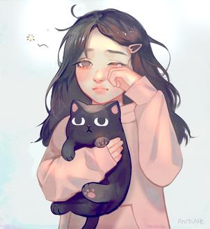Фото Сонная девочка с игрушечным котом, by zephy0