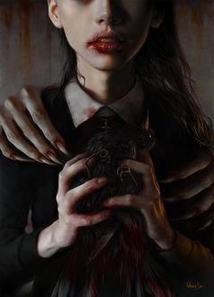 Фото Девушка, на плечах которой демонические руки, держит в руках окровавленную птицу, by ElenaSai
