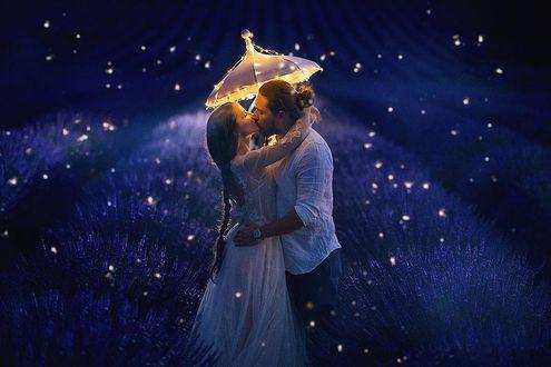 Фото Девушка в длинном платье и парень целуются, стоя под зонтом на лавандовом поле, by Daria Bulavina