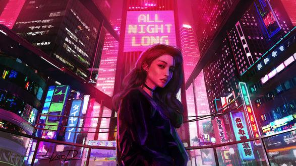 Фото Девушка на улице ночного города в свете неоновых вывесок, by tonyskeor (All Night Long)