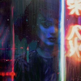 Грустная девушка за мокрым стеклом, в котором отражается неоновая вывеска, by tonyskeor
