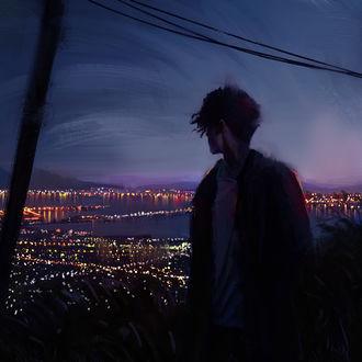 Фото Парень смотрит на огни ночного города, by tonyskeor