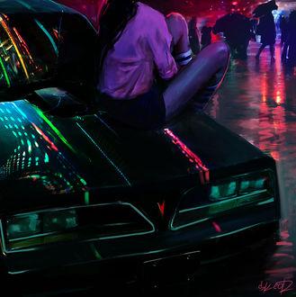 Фото Девушка смотрит на людей, сидя на капоте машины, by tonyskeor