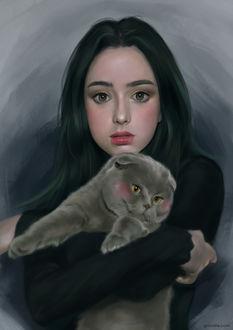 Фото Портрет девушки с британским котом на руках, by Grimdle Kim