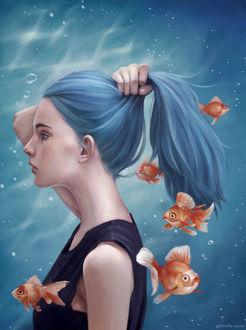 Фото Портрет девушки с голубыми волосами в окружении рыбок, by Grimdle Kim
