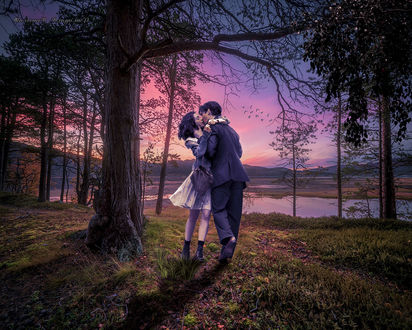 Фото Энн Хэтэуэй / Anne Hathaway в роли Эммы Морли и Джим Стерджесс / James Sturgess в роли Декстера Мэйхью целуются на закате в лесу (поцелуй из фильма Один день / One day)