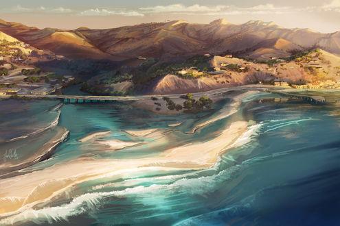Фото Побережье моря и горы с высоты птичьего полета