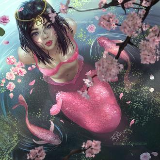 Фото Девушка-русалка сидит в воде в окружении рыб, by Toshia-san