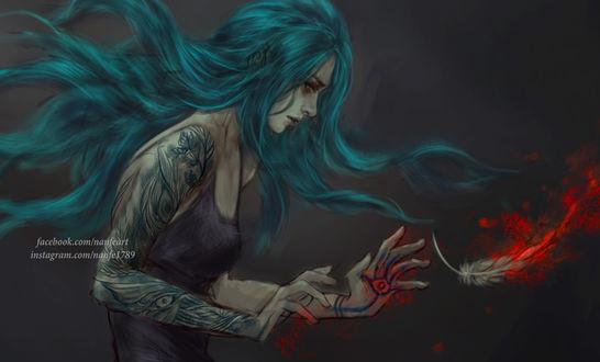Фото Девушка с зелеными волосами, by NanFe