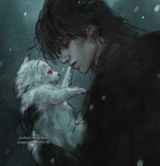 Фото Темноволосый парень держит на руках волчонка, by NanFe