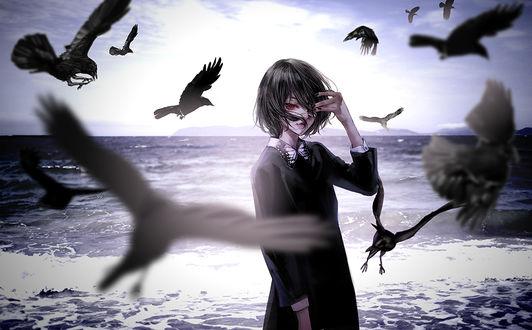 Фото Девушка стоит у моря в окружении воронов, by kiyo_donburi