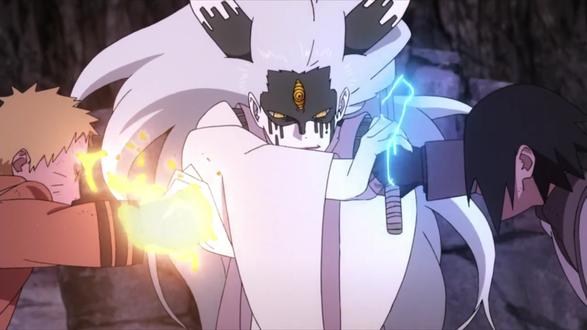 Фото Наруто Узумаки / Naruto Uzumaki и Саске Учиха / Saske Uchiha сражаются с Оуцуцуки Мамашики / Outsusuki Mamashiki из аниме Боруто: новое поколение Наруто / Boruto: Naruto next generation