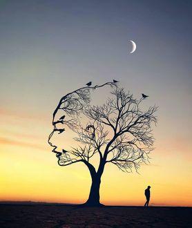 Фото Парень стоит у дерева, крона которого в виде профиля девушки