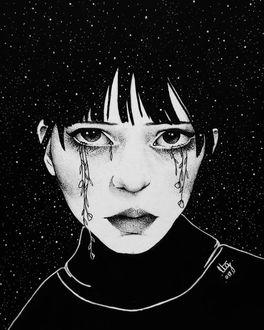 Фото Грустная девушка с цветами в глазах на фоне ночного неба