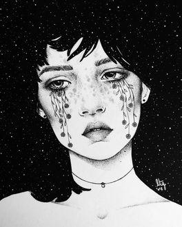 Фото Грустная девушка с цветами, растущими из глаз, на фоне ночного неба