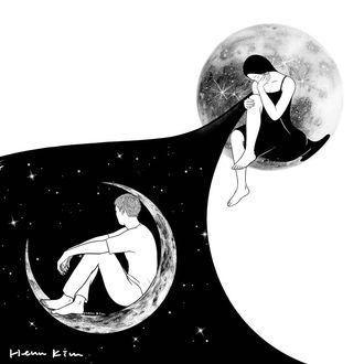 Фото Девушка в платье звездной ночи, где на месяце сидит ее возлюбленный, by Henn Kim